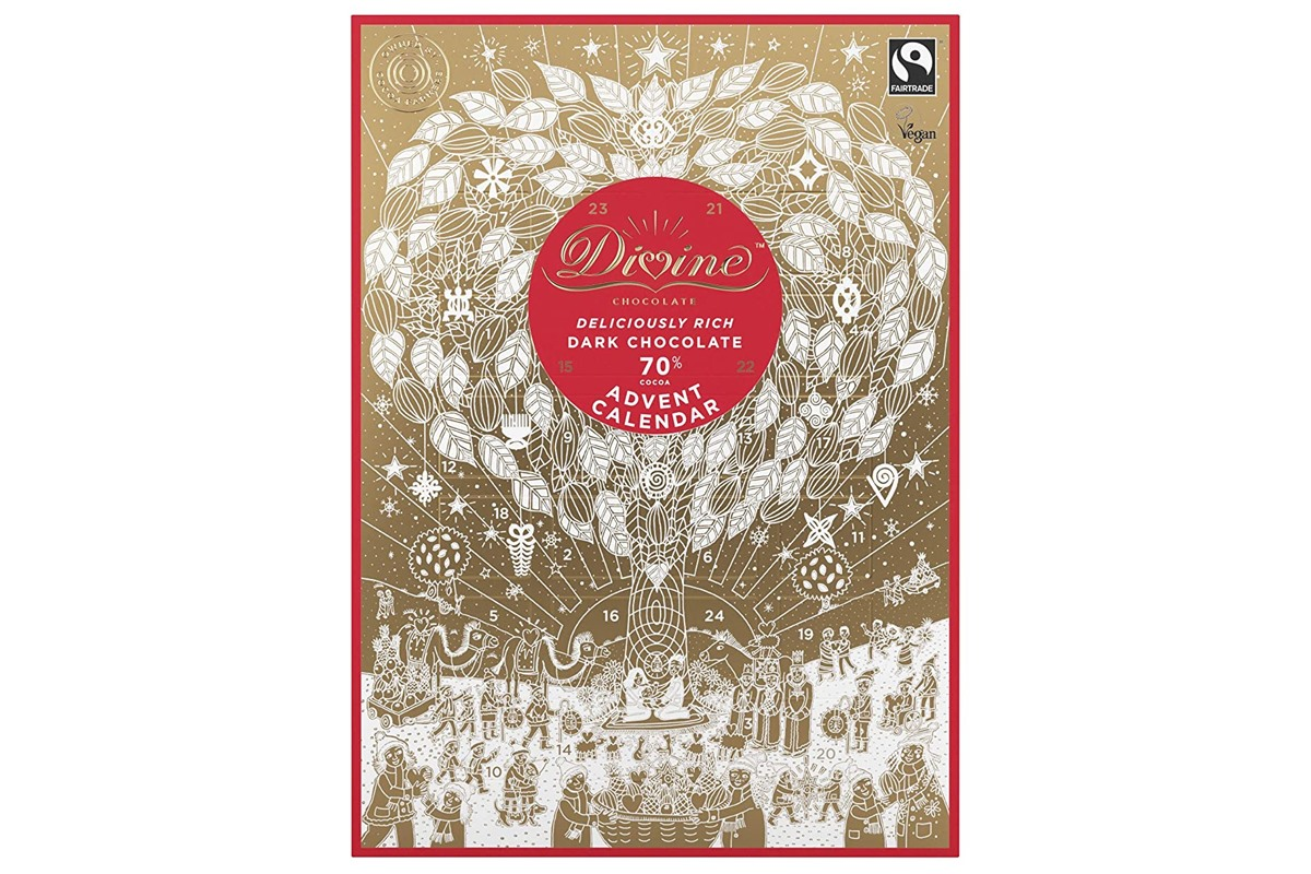 Dairy-Free Advent Calendars - Divine Dark Chocolate sold in the U.S. and U.K.