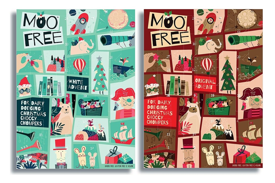 Dairy-Free Advent Calendars - A Full Round-Up with Vegan, Gluten-Free, Nut-Free, & Soy-Free Options, too! (Moo Free pictured)