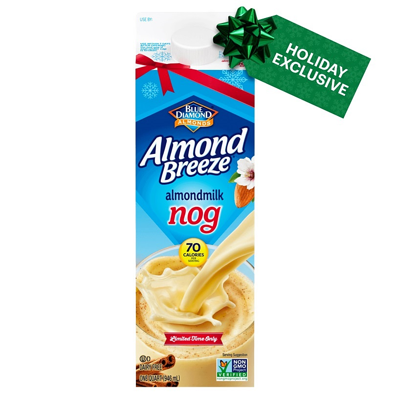 Dairy-Free Holiday Beverages: Almond Breeze Nog pictured