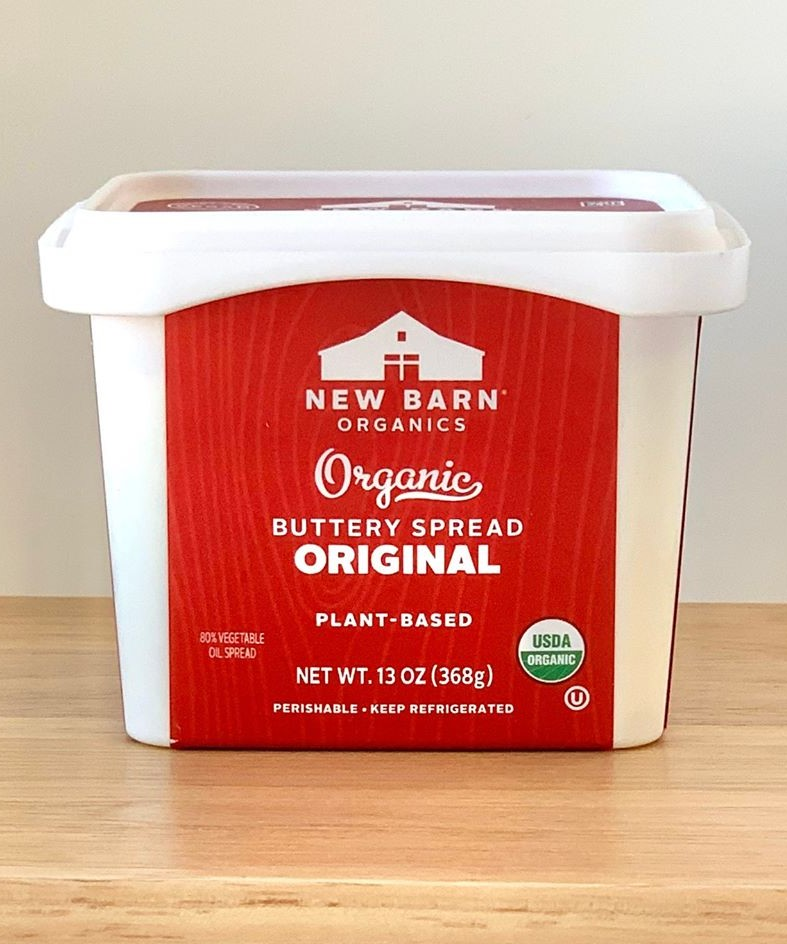 New Barn Buttery Spread Reviews and Info - Organic, Pareve, Dairy-Free, Plant-Based, Soy-Free, Coconut-Free Butter Alternative for spreading, cooking, and baking