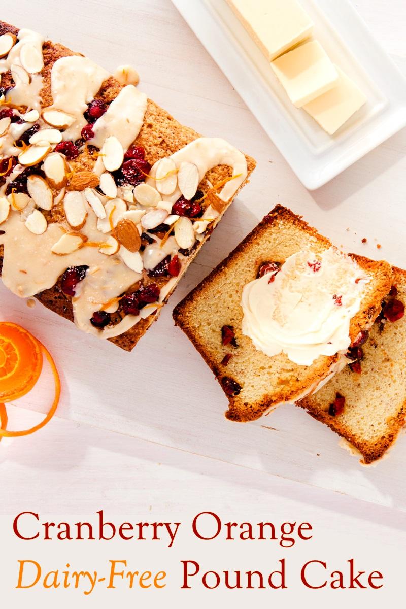 Dairy-Free Cranberry Orange Pound Cake Recipe with Ginger-Orange Glaze