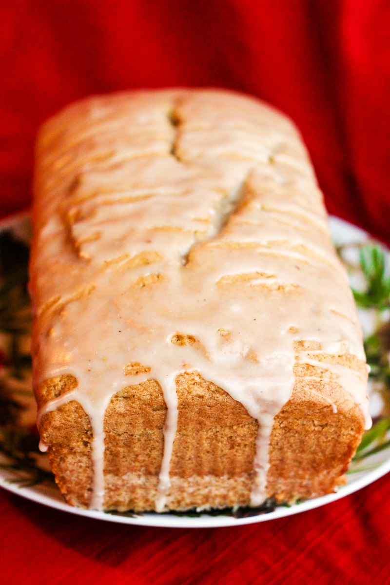 Dairy-Free Eggnog Bread Recipe with Nog Glaze and Vegan Option (Egg-Free and Vegan as Pictured, Nut-Free and Soy-Free Options)