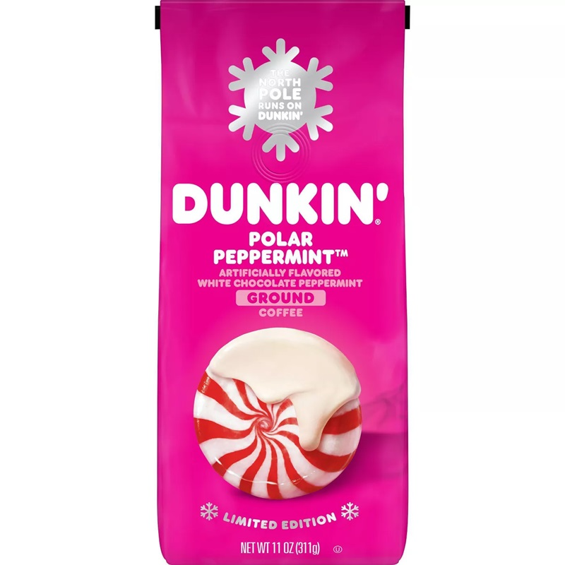 The Best Dairy-Free Chocolate Peppermint Treats (all vegan too!) - from chocolate bark to cookies, coffee to creamers, and even fondant! Pictured: Dunkin Donuts Vegan White Chocolate Peppermint Coffee