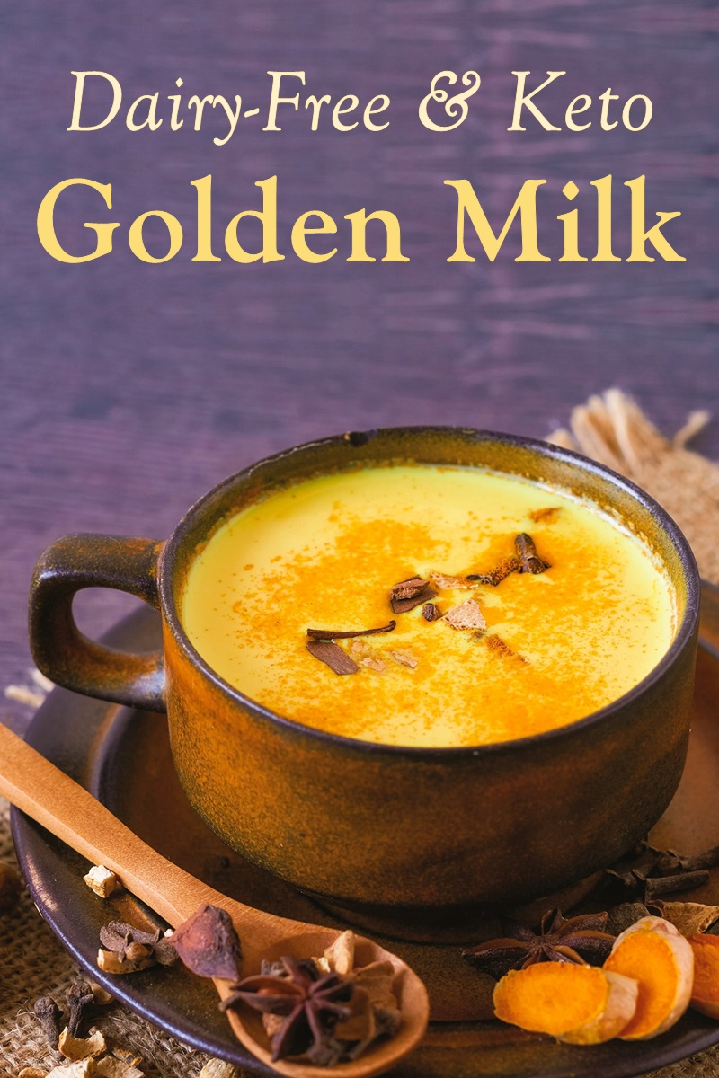 Dairy-Free Keto Golden Milk Recipe that's Steeped in Anti-Inflammatory Benefits. Plant-based and soy-free with nut-free and lighter options.