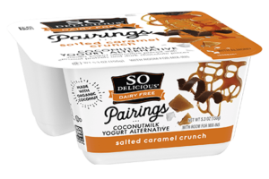 So Delicious Pairings Coconutmilk Yogurt Alternative Review and Info - Dairy-free, gluten-free, and vegan yogurt alternative with toppings. Salted Caramel Crunch Flavor Pictured