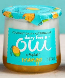 Oui Dairy Free Yogurt Alternative Reviews & Info - This plant-based line is Creamy Cultured Coconut on Top, Fruit on the Bottom (Mango Pictured)