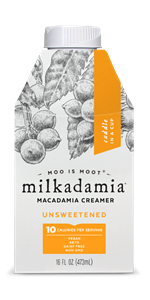 Milkadamia Creamer Reviews and Info - Dairy-Free, Vegan, and Keto-Friendly Creamers in Sweetened & Unsweetened varieties, and made with raw macadamias and coconut cream. We have ingredients, nutrition, availability, and more.