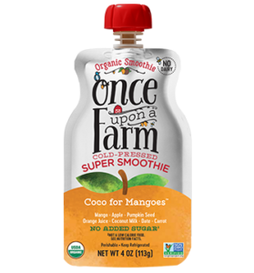 Once Upon a Farm Super Smoothies Reviews and Information (Dairy-Free, No Added Sugar, Jennifer Garner Company). Pictured: Coco for Mangoes
