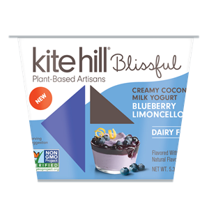 Kite Hill Blissful Creamy Coconut Milk Yogurt Reviews and Information - Dairy-Free, Soy-Free, Gluten-Free & Vegan. Pictured: Blueberry Limoncello