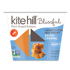 Kite Hill Blissful Creamy Coconut Milk Yogurt Reviews and Information - Dairy-Free, Soy-Free, Gluten-Free & Vegan. Pictured: Salted Caramel