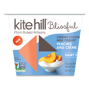 Kite Hill Blissful Creamy Coconut Milk Yogurt Reviews and Information - Dairy-Free, Soy-Free, Gluten-Free & Vegan. Pictured: Peaches and Creme