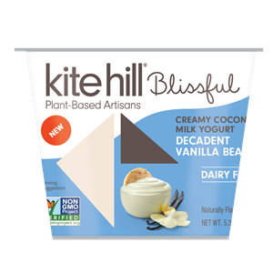 Kite Hill Blissful Creamy Coconut Milk Yogurt Reviews and Information - Dairy-Free, Soy-Free, Gluten-Free & Vegan. Pictured: Decadent Vanilla Bean