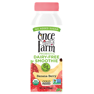 Once Upon a Farm Probiotic Dairy-Free Smoothies Reviews & Information (Co-Founded by Jennifer Garner, No Added Sugar, Pure Ingredients. Full Details and Ratings Here. Pictured: Banana Berry