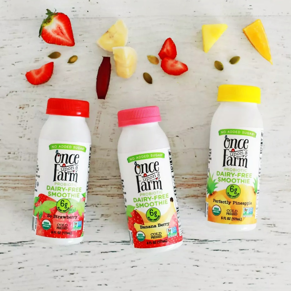 Once Upon a Farm Probiotic Dairy-Free Smoothies Reviews & Information (Co-Founded by Jennifer Garner, No Added Sugar, Pure Ingredients. Full Details and Ratings Here. Pictured: Three Flavors