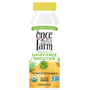 Once Upon a Farm Probiotic Dairy-Free Smoothies Reviews & Information (Co-Founded by Jennifer Garner, No Added Sugar, Pure Ingredients. Full Details and Ratings Here. Pictured: Perfectly Pineapple