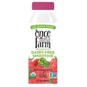 Once Upon a Farm Probiotic Dairy-Free Smoothies Reviews & Information (Co-Founded by Jennifer Garner, No Added Sugar, Pure Ingredients. Full Details and Ratings Here. Pictured: Red Raspberry