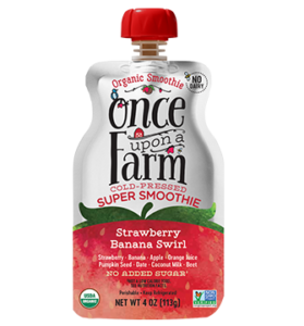 Once Upon a Farm Super Smoothies Reviews and Information (Dairy-Free, No Added Sugar, Jennifer Garner Company). Pictured: Banana Strawberry Swirl