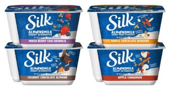 Silk Almondmilk Mix-Ins Yogurt Alternative Reviews and Information (Dairy-Free & Plant-Based) - Coconut Chocolate Almond, Maple Chocolate Banana, Apple Cinnamon, Mixed Berry Chia Granola