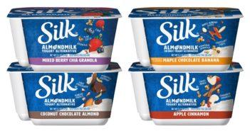 Silk Almondmilk Mix-Ins Yogurt Alternative Reviews and Information (Dairy-Free & Plant-Based) - Coconut Chocolate Almond, Maple Chocolate Banana, Apple Cinnamon, Mixed Berry Chia Granola