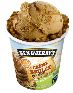 Ben & Jerry's Non-Dairy Frozen Dessert - A guide with ingredients, customer reviews, and more info on this dairy-free ice cream line. All vegan too. Pictured: Crème Brûlée Cookie