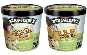 Ben & Jerry's Non-Dairy Frozen Dessert - A guide with ingredients, customer reviews, and more info on this dairy-free ice cream line. All vegan too. Pictured: Non-Dairy Mini Cups in Caramel Chocolate Chunk and PB & Cookies