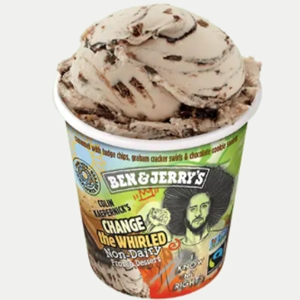 Ben & Jerry's Non-Dairy Frozen Dessert - A guide with ingredients, customer reviews, and more info on this dairy-free ice cream line. All vegan too. Pictured: Change the Whirled