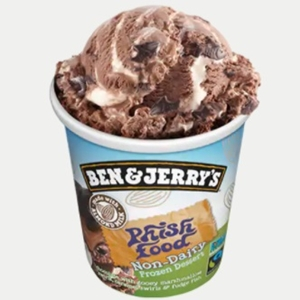 Ben & Jerry's Non-Dairy Frozen Dessert - A guide with ingredients, customer reviews, and more info on this dairy-free ice cream line. All vegan too. Pictured: Non-Dairy Phish Food