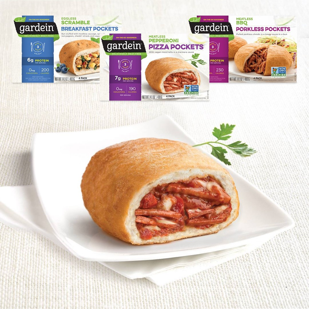 Gardein Meatless Pockets Reviews and Information (ingredients, nutrition facts, and more). Meatless, Dairyless, Eggless breakfast, lunch, and dinner pockets.