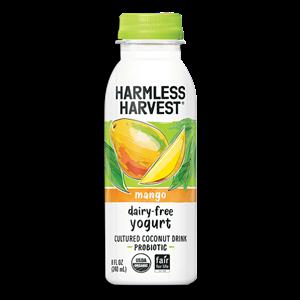 Harmless Harvest Dairy-Free Yogurt Drinks Reviews and Information - Vegan probiotic beverages in unsweetened and low sugar varieties.