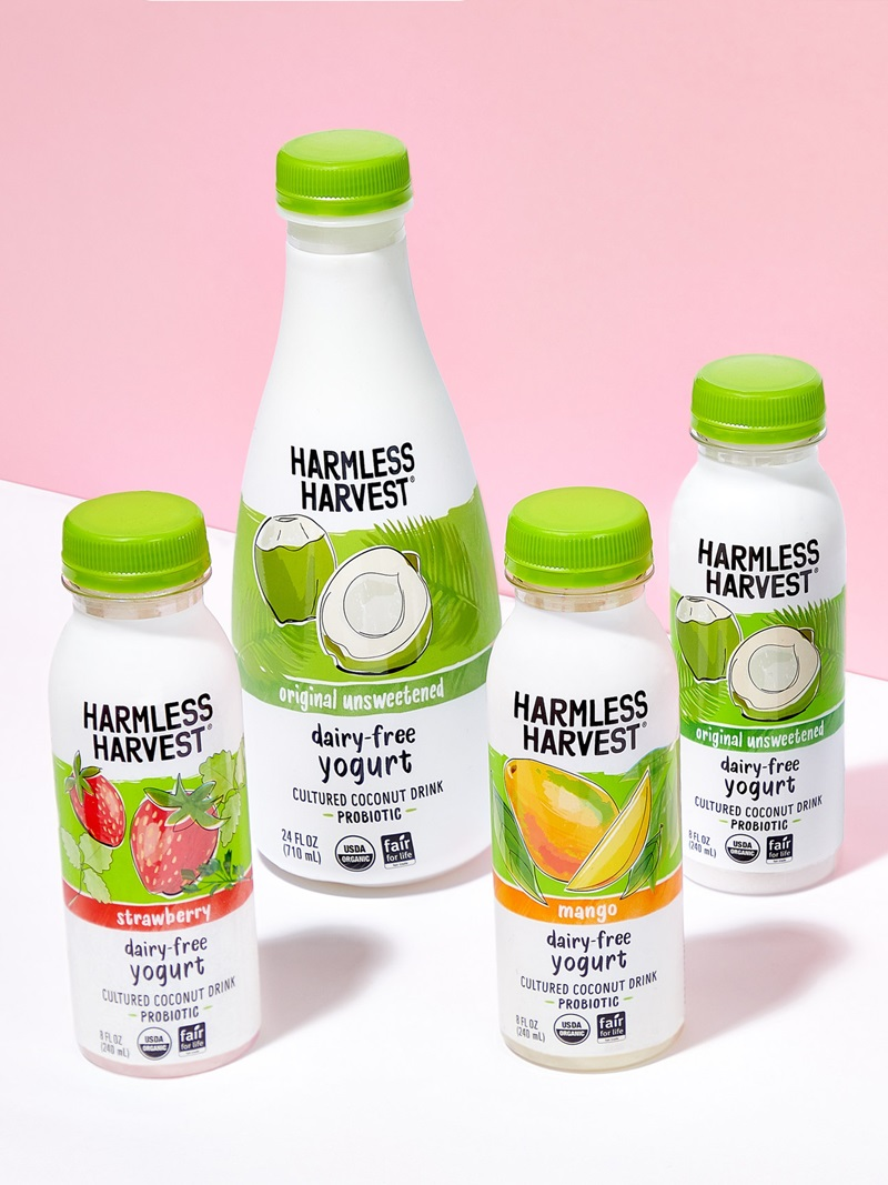 Harmless Harvest Dairy-Free Yogurt Drinks Reviews and Information - Vegan probiotic beverages in unsweetened and low sugar varieties.