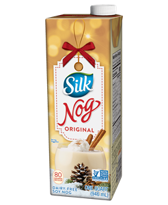 Silk Soymilk Reviews and Information (A Dairy-Free, Vegan Classic in Several Varieties - naturally high protein + fortified with vitamins and minerals). Pictured: Silk Nog