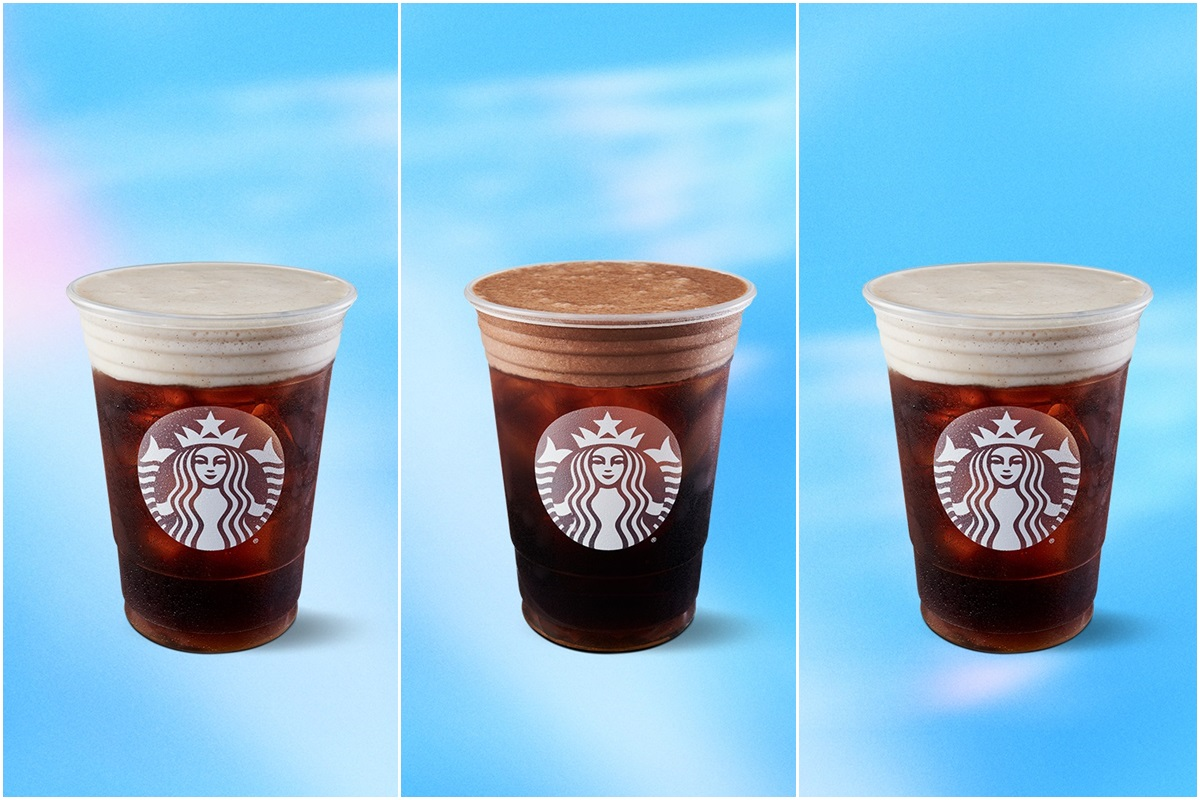 Starbucks launches three new non-dairy Cold Beverages made with Cold Brew Coffee, dairy-free cold foam (almond or oat), and their classic vegan toppings.