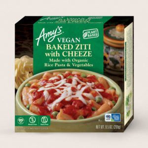 Amy's Vegan Cheeze Meals Reviews and Information (plant-based, dairy-free, organic frozen entrees). Pictured: Vegan Baked Ziti with Cheeze
