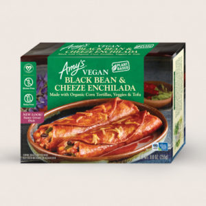 Amy's Vegan Cheeze Meals Reviews and Information (plant-based, dairy-free, organic frozen entrees). Pictured: Vegan Black Beand and Cheeze Enchiladas