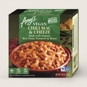 Amy's Vegan Cheeze Meals Reviews and Information (plant-based, dairy-free, organic frozen entrees). Pictured: Vegan Chili Mac and Cheeze