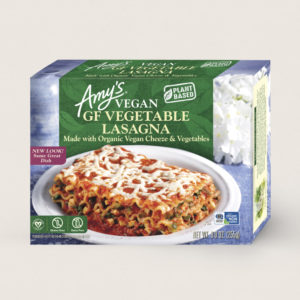 Amy's Vegan Cheeze Meals Reviews and Information (plant-based, dairy-free, organic frozen entrees). Pictured: Vegan Gluten-Free Vegetable Lasagna