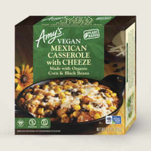 Amy's Vegan Cheeze Meals Reviews and Information (plant-based, dairy-free, organic frozen entrees). Pictured: Vegan Mexican Casserole with Cheeze