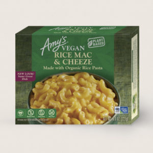 Amy's Vegan Cheeze Meals Reviews and Information (plant-based, dairy-free, organic frozen entrees). Pictured: Vegan Gluten-Free Rice Mac and Cheeze