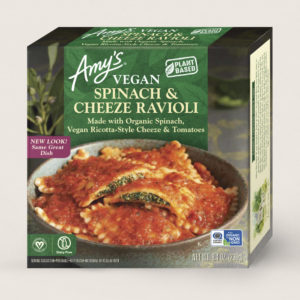 Amy's Vegan Cheeze Meals Reviews and Information (plant-based, dairy-free, organic frozen entrees). Pictured: Vegan Spinach and Cheeze Ravioli