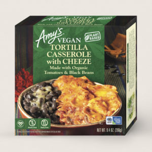 Amy's Vegan Cheeze Meals Reviews and Information (plant-based, dairy-free, organic frozen entrees). Pictured: Vegan Tortilla Casserole with Cheeze