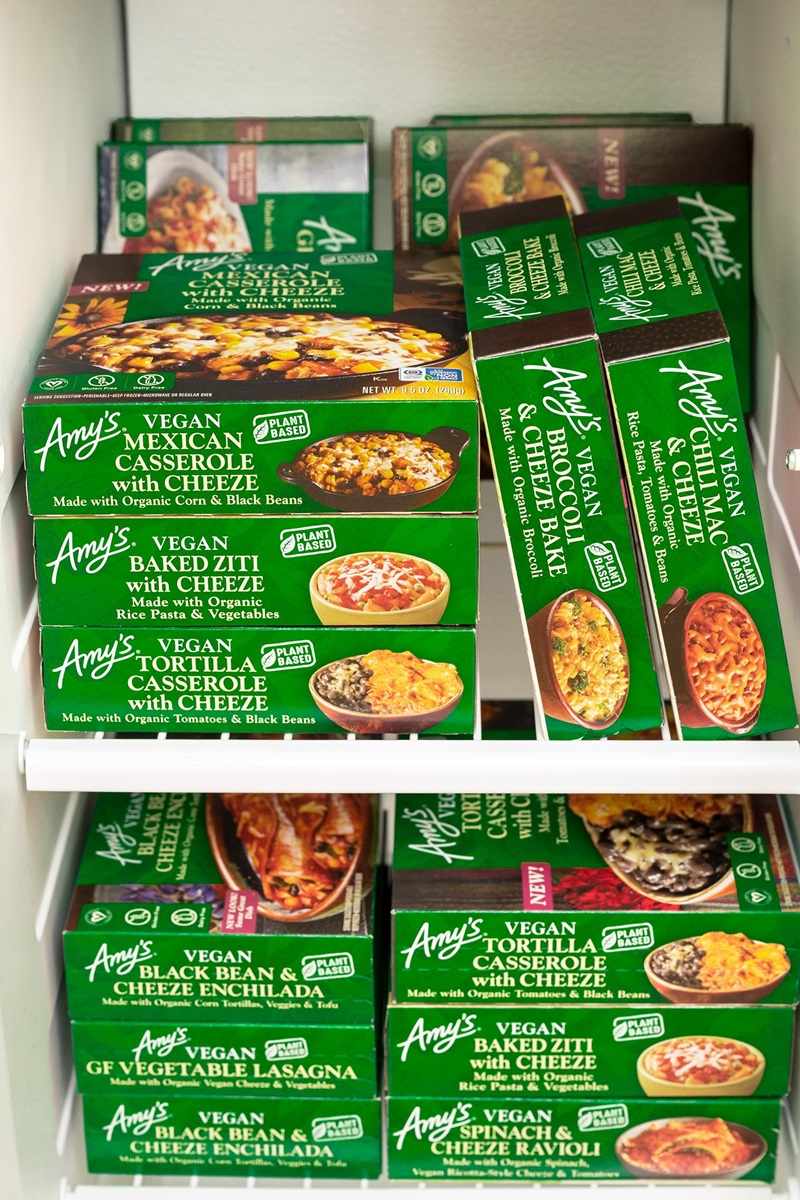 Amy's Vegan Cheeze Meals Reviews and Information (plant-based, dairy-free, organic frozen entrees). Pictured: All Dairy-Free Cheese Alternative Entrees
