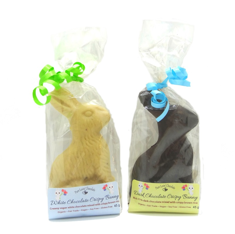 Dairy-Free Chocolate Easter Bunny Round-Up - Pure Lovin Organic Chocolate Bunnies Pictured