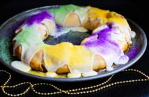 Dairy-Free King Cake Recipe - A super-easy, kids can bake, Mardi Gras dessert that's made with refrigerator biscuits! Great for an anytime dessert, too!