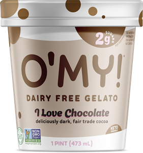 O'My Low Sugar Gelato Reviews and Info! This dairy-free, gluten-free, soy-free, vegan ice cream has just 2 grams of sugar per 2/3 cup serving! Pictured: I Love Chocolate