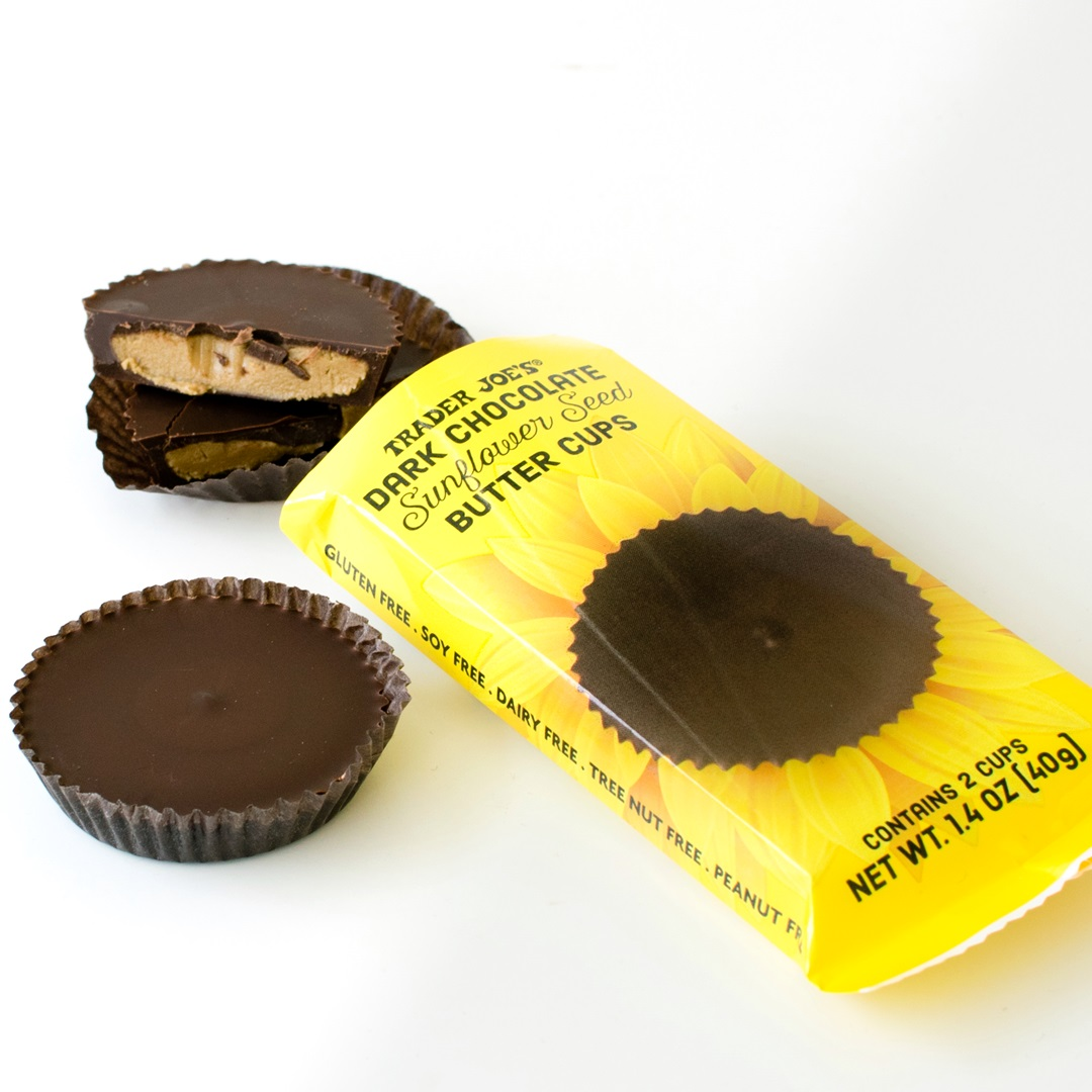Guide to Dairy-Free Peanut Butter Cups, Nut Butter Cups, Seed Butter Cups, and More (with Vegan, Allergy-Friendly, Paleo, and Keto Options) Pictured: Trader Joe's Sunflower Seed Butter Cups