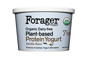 Forager Project Plant-Based Protein Yogurt Reviews and Information (Dairy-free, gluten-free, soy-free, and cultured with live and active probiotics) We have ingredients, availability, and more. Pictured: Vanilla