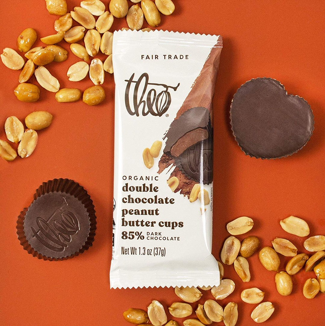 Guide to Dairy-Free Peanut Butter Cups, Nut Butter Cups, Seed Butter Cups, and More (with Vegan, Allergy-Friendly, Paleo, and Keto Options) Pictured: Theo Organic Dark Chocolate Nut Butter Cups