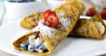 Dairy-Free French Toast Wraps Recipe - filled with vegan yogurt, granola, and fresh fruit. Gluten-free option.