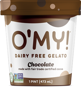O'My Dairy-Free Gelato Reviews & Information - Vegan, Soy-Free, Pure Ice Cream in several Minimalist, Creamy Pint Flavors. Pictured: Chocolate