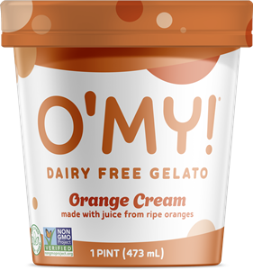 O'My Dairy-Free Gelato Reviews & Information - Vegan, Soy-Free, Pure Ice Cream in several Minimalist, Creamy Pint Flavors. Pictured: Orange Cream